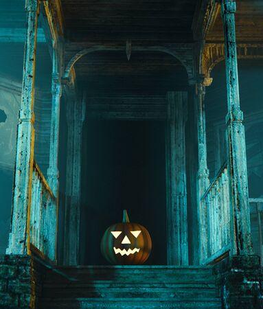Halloween pumpkin in haunted house,3d illustration Zdjęcie Seryjne