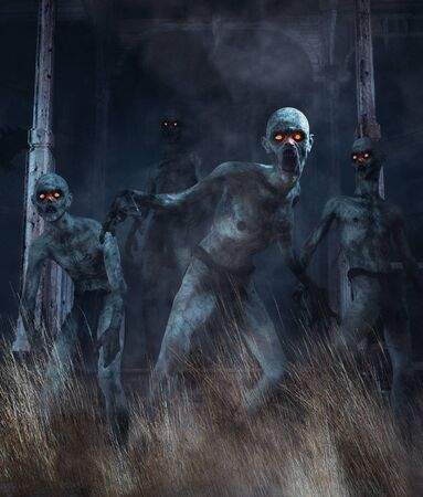 Zombies awaken,Undead from a long time land,3d illustration for book cover