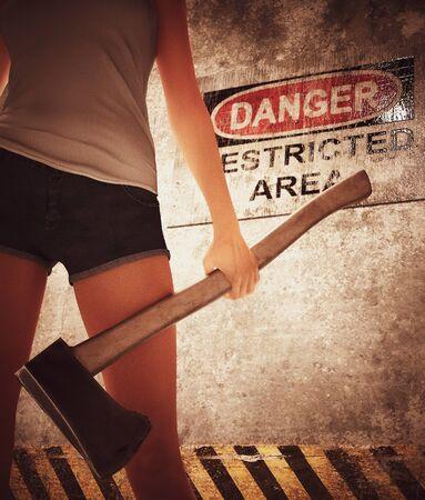 Woman with hatchet in restricted area ,3d rendering Zdjęcie Seryjne