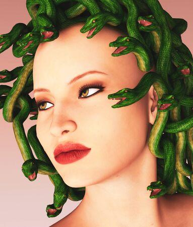 Portrait of  Medusa,3d illustration for book cover Zdjęcie Seryjne