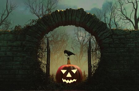The gates is open and Halloween is here,3d illustration