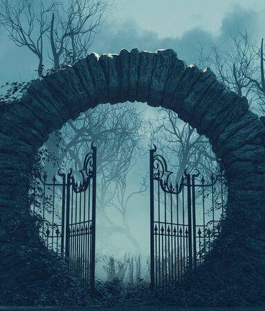 The gates is open,Halloween scene,3d illustration Zdjęcie Seryjne
