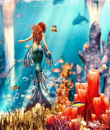 3d Fantasy mermaid in mythical sea,Fantasy fairy tale of a sea nymph,3d illustration for book cover or book illustration