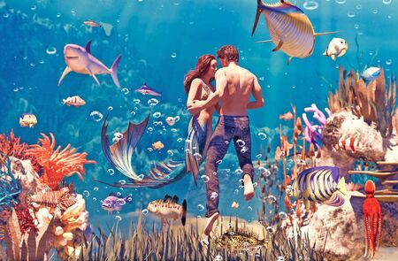 A sea love story between man and a mermaid,3d Fantasy mermaid in mythical sea,Fantasy fairy tale of a sea nymph,3d illustration for book cover or book illustration