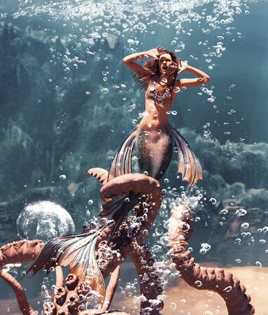 3d Fantasy horror of mermaid fight with giant octopus in mythical sea,Fantasy fairy tale of a sea nymph,3d illustration for book cover Stock fotó