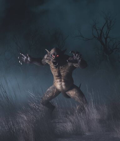 Creatures in creepy forest,3d illustration