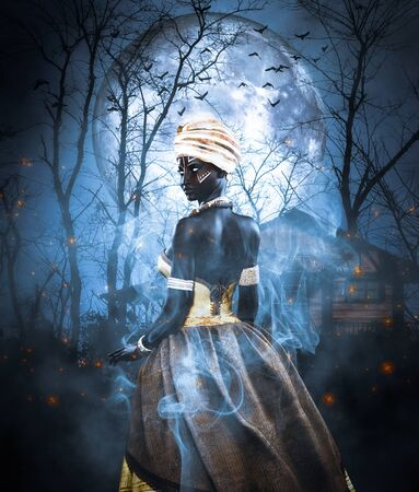 Voodoo queen or Lady shaman,3d illustration for book cover ideas
