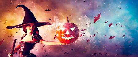 Halloween Witch with a magic Pumpkin,3d illustration