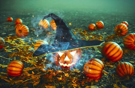 Spooky forest decorated with halloween pumpkin wearing witch's hat,3d illustration Фото со стока