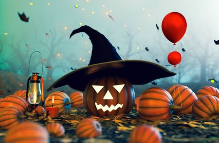 Spooky forest decorated with halloween pumpkin wearing witchs hat,3d illustration Zdjęcie Seryjne
