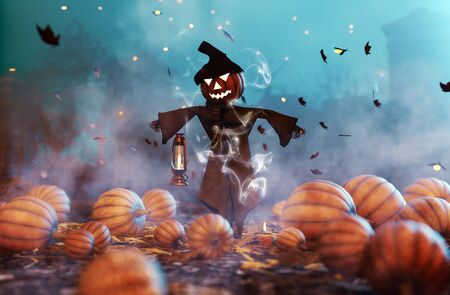 Scarecrow Pumpkin decorated at night,3d rendering