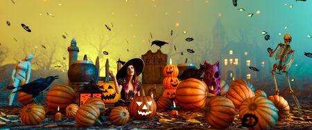 Halloween magic night,3d illustration