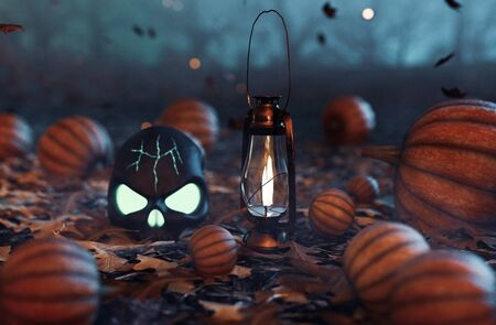Spooky forest decorated with halloween pumpkins and lantern,3d illustration Zdjęcie Seryjne