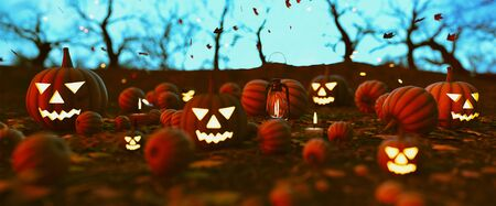 Spooky forest with halloween pumpkins,3d illustration