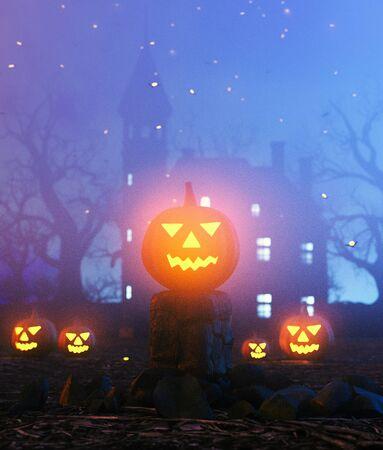 Halloween fantasy night decoration,3d illustration
