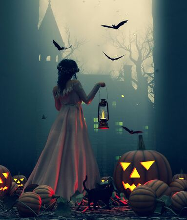 Woman with lantern walking in to creepy manor at night on halloween night,3d illustration