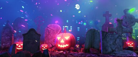 Graveyard on halloween fantasy night,3d illustration