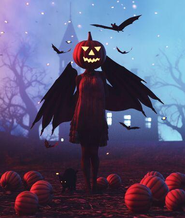 Creatures girl with pumpkin head,3d illustration Zdjęcie Seryjne