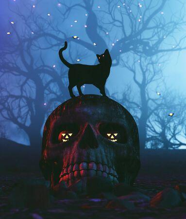 Black cat sitting on skull in halloween night,3d illustration