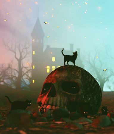 Black cat on skull in halloween night,3d illustration