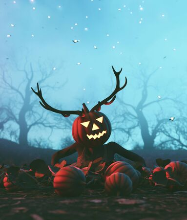 Ghost woman wearing pumpkin head with wood dear,3d illustration Zdjęcie Seryjne
