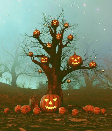 Halloween pumpkin tree in haunted forest,3d illustration
