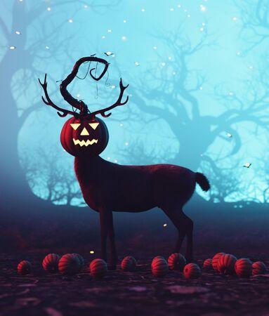 Deer with halloween pumpkin head,3d illustration