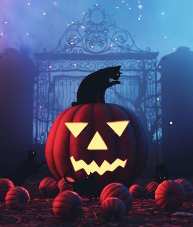 Black cat sitting on halloween pumpkin in halloween night,3d illustration Zdjęcie Seryjne