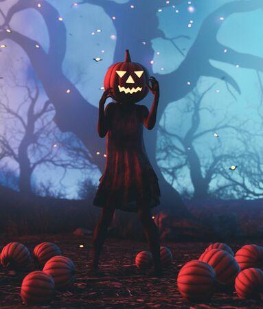Ghost woman with pumpkin head,3d illustration Zdjęcie Seryjne