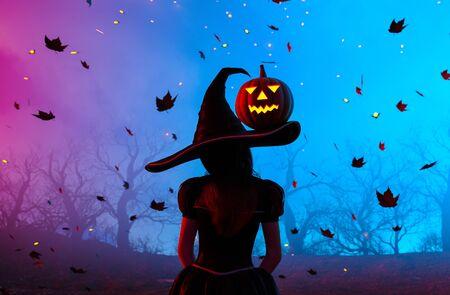 Fantasy witch in halloween night,3d illustration Zdjęcie Seryjne