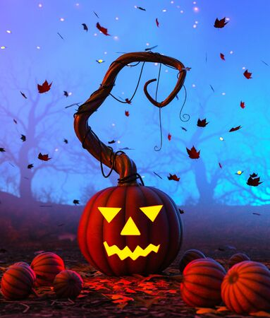 Halloween pumpkin in creepy forest at night,3d illustration for halloween concept background
