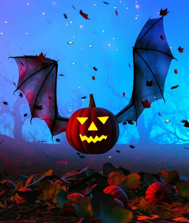 Halloween pumpkin flying with bat wings,3d illustration