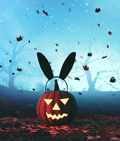 Halloween pumpkin with bunny head,3d illustration Zdjęcie Seryjne