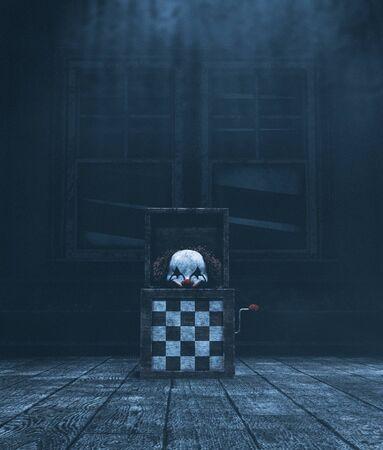 Haunted toys jack in haunted house,3d illustration 免版税图像 - 131655462