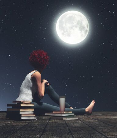 Girl sitting on wooden floors looking to the moon,3d illustration Stock fotó