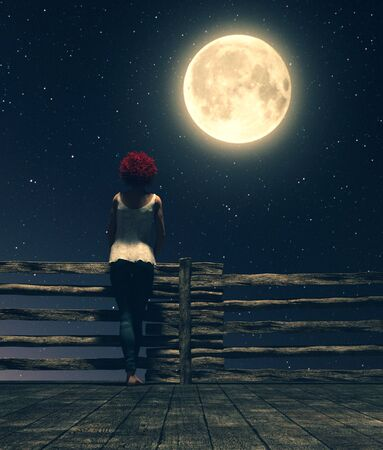 Alone under the moonlight,Girl standing alone on the wooden bridge at night looking to the moon,3d illustration Stock fotó