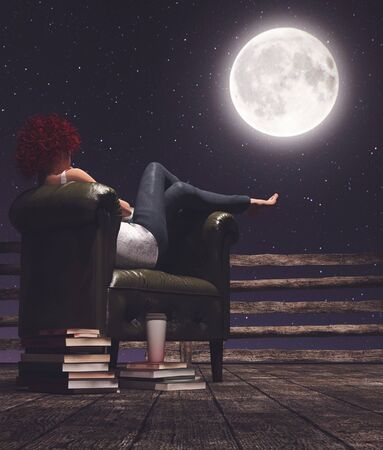 Tranquil life,Woman repose on vintage leather chair at night looking at the moon,3d illustration