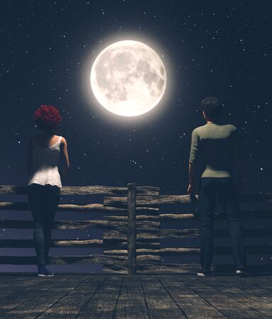 Distance between us,Man and woman on the wooden bridge at night with the moon background,3d illustration