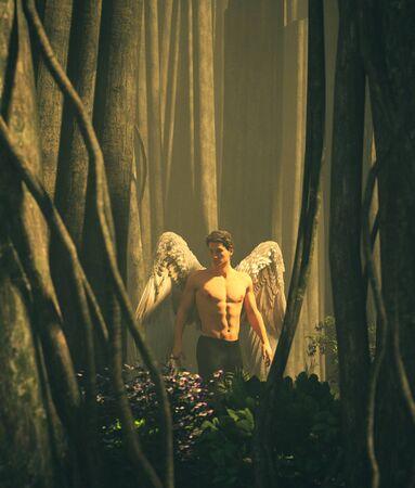 Ein Engel im Herzen des mystischen Waldes, 3D-Darstellung Standard-Bild