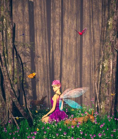 The forest's tales,Little pixie in magical forest,3d illustration
