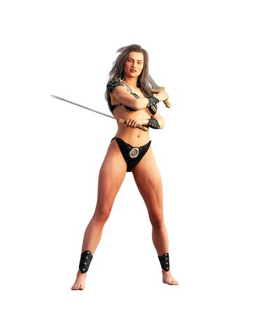 Ancient female warrior poses,3d rendering for book cover,Rendering on white background