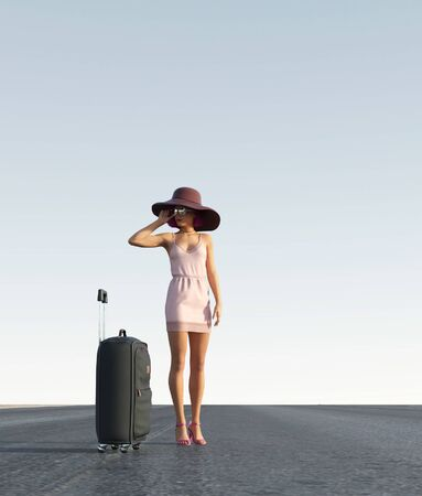 Traveller girl on the road,3d rendering Banco de Imagens