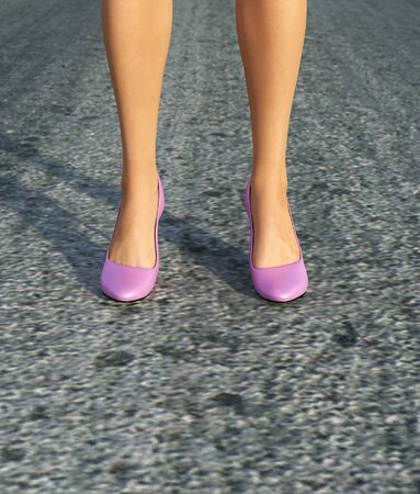 Woman's legs in pink shoe,3d rendering