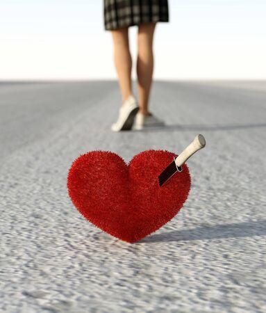 Broken hearted girl walking away from her love,3d rendering