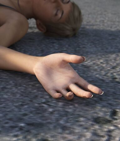 Unconscious girl on the street,concept for crime scene or book cover,3d rendering