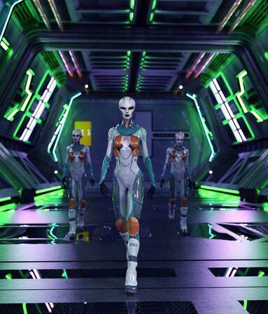 Alien girl in spaceship,3d rendering Banco de Imagens