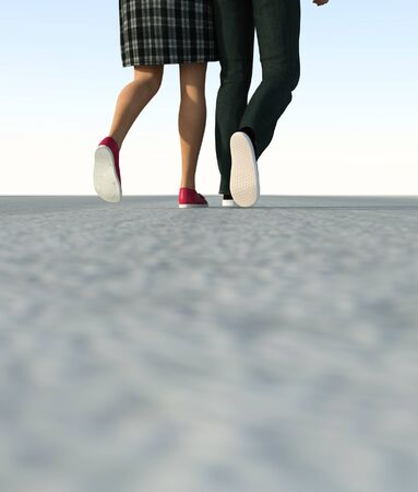 Close up legs of Couple on the street,3d rendering