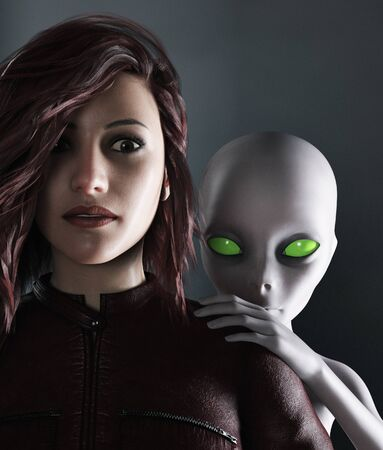 Woman with an alien,3d rendering