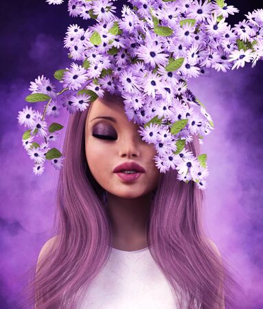 Portrait of beautiful woman with spring flowers,3d rendering