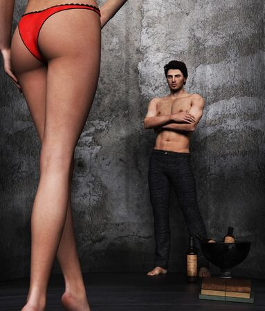 A secret lover,Intimate relationship and sexual relations,3d rendering,3d figures,Mature Content.